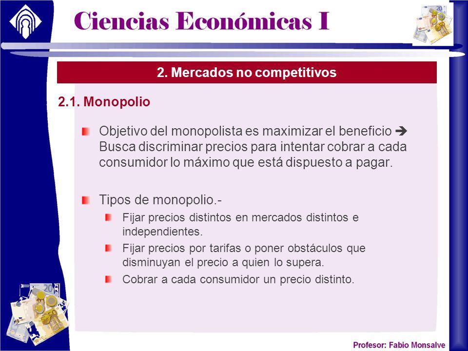2. Mercados no competitivos Objetivo del monopolista es maximizar el beneficio Busca discriminar precios para intentar cobrar a cada consumidor lo máx