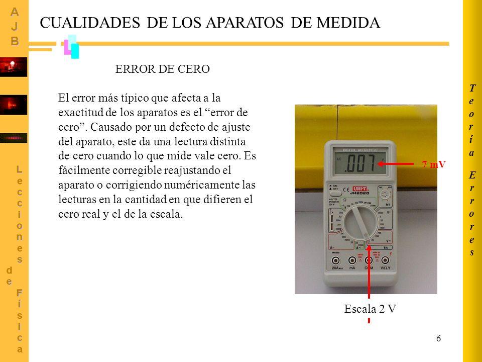 6 El error más típico que afecta a la exactitud de los aparatos es el error de cero. Causado por un defecto de ajuste del aparato, este da una lectura