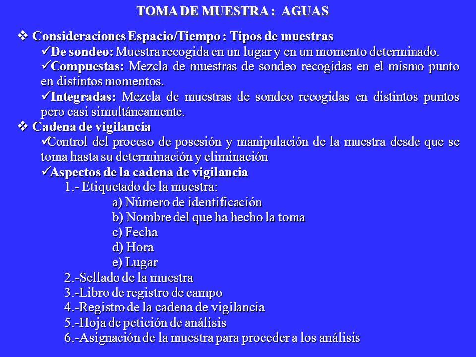 TOMA DE MUESTRA : AGUAS Consideraciones Espacio/Tiempo : Tipos de muestras Consideraciones Espacio/Tiempo : Tipos de muestras De sondeo: Muestra recog