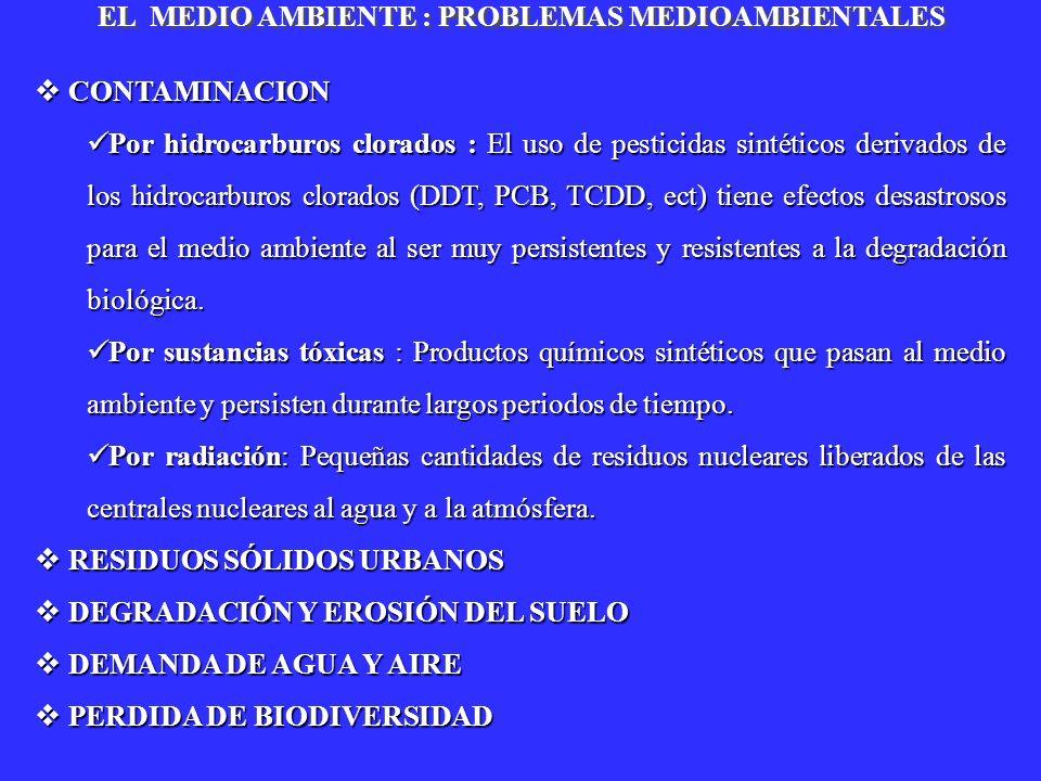 CONTAMINACION CONTAMINACION Por hidrocarburos clorados : El uso de pesticidas sintéticos derivados de los hidrocarburos clorados (DDT, PCB, TCDD, ect)