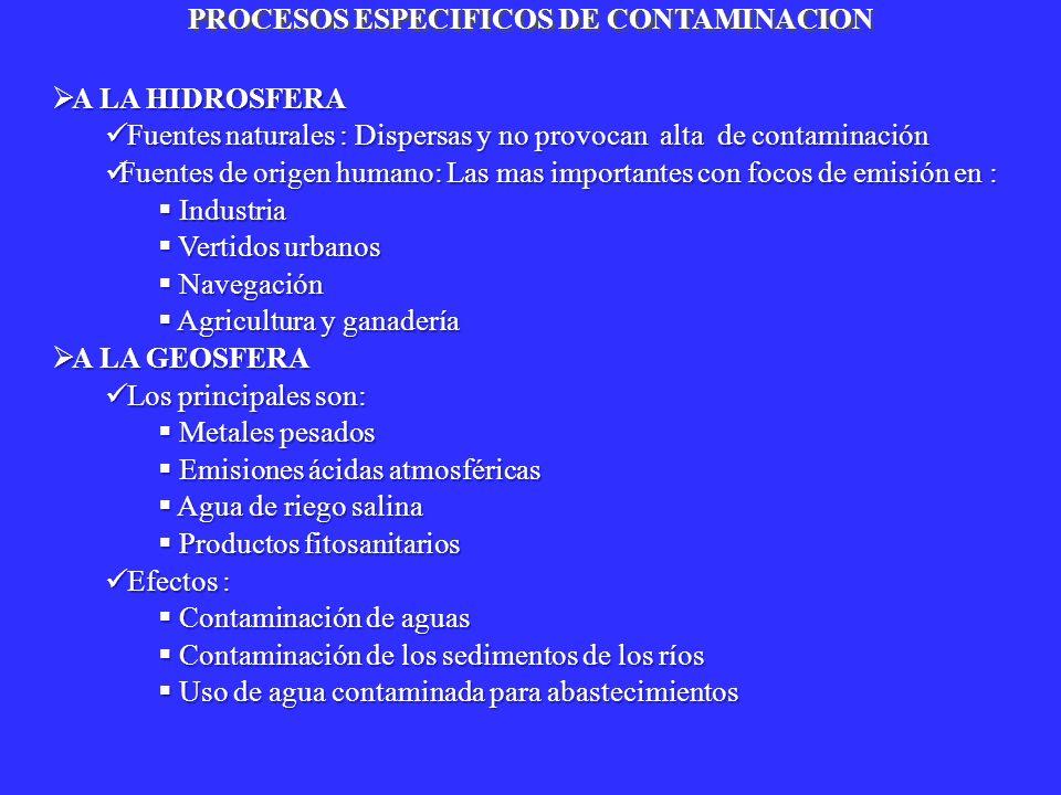 A LA HIDROSFERA A LA HIDROSFERA Fuentes naturales : Dispersas y no provocan alta de contaminación Fuentes naturales : Dispersas y no provocan alta de