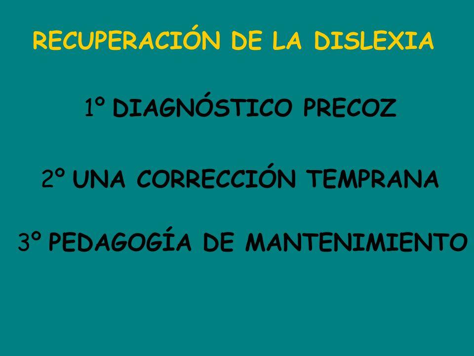 RECUPERACIÓN DE LA DISLEXIA 1º DIAGNÓSTICO PRECOZ 2º UNA CORRECCIÓN TEMPRANA 3º PEDAGOGÍA DE MANTENIMIENTO