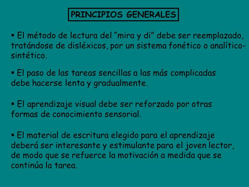 PRINCIPIOS GENERALES El método de lectura del mira y di debe ser reemplazado, tratándose de disléxicos, por un sistema fonético o analítico- sintético