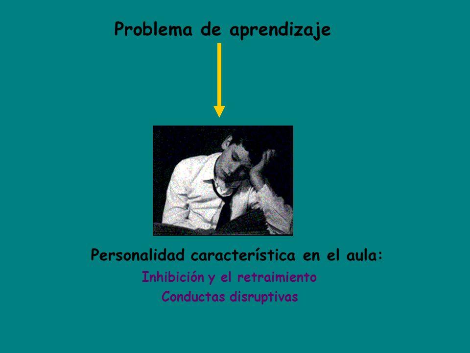 Problema de aprendizaje Personalidad característica en el aula: Inhibición y el retraimiento Conductas disruptivas