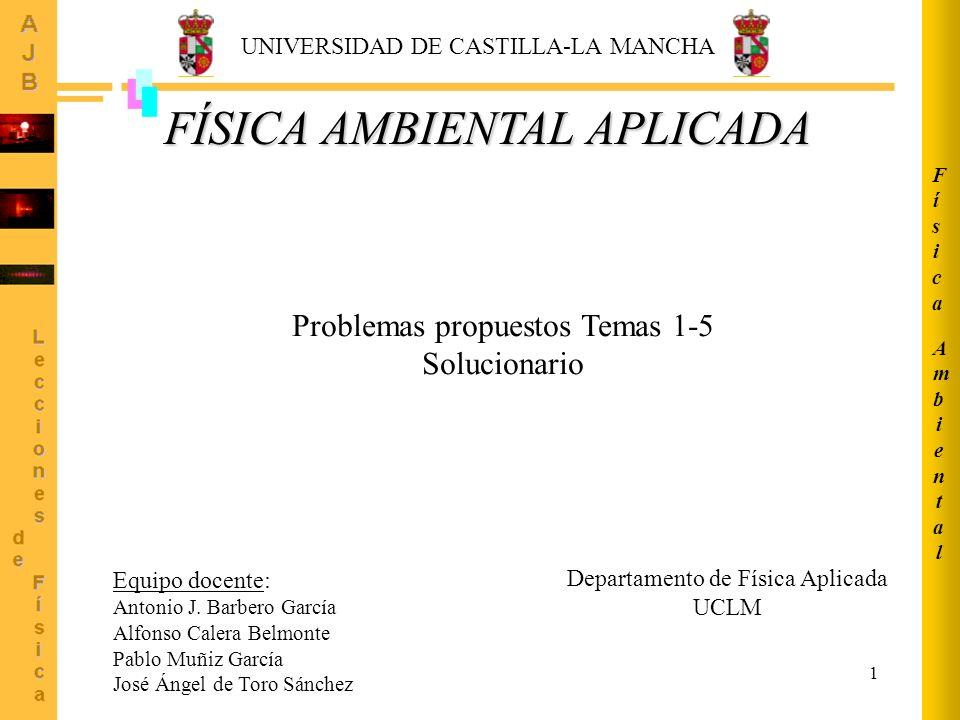 1 AmbientalAmbiental FísicaFísica Departamento de Física Aplicada UCLM Equipo docente: Antonio J. Barbero García Alfonso Calera Belmonte Pablo Muñiz G