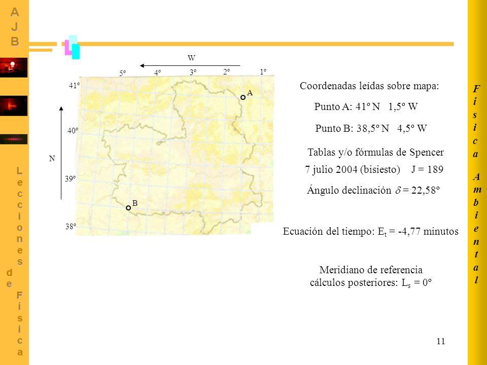 11 1º2º 3º 4º 5º W 38º 39º 40º 41º N A B Coordenadas leídas sobre mapa: Punto A: 41º N 1,5º W Punto B: 38,5º N 4,5º W Tablas y/o fórmulas de Spencer 7
