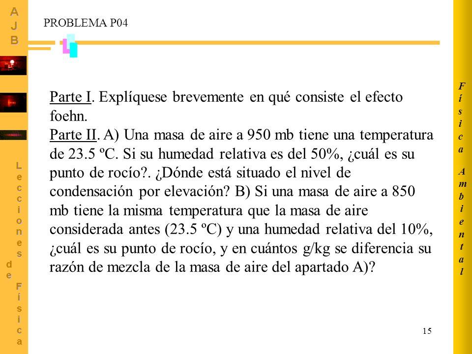 15 Parte I. Explíquese brevemente en qué consiste el efecto foehn. Parte II. A) Una masa de aire a 950 mb tiene una temperatura de 23.5 ºC. Si su hume