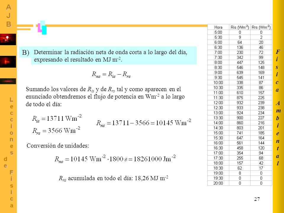 27 Determinar la radiación neta de onda corta a lo largo del día, expresando el resultado en MJ m -2. B) Sumando los valores de R is y de R rs tal y c