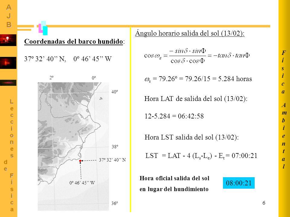 6 AmbientalAmbiental FísicaFísica 36º 38º 40º 0º 2º 0º 46 45 W 37º 32 40 N Coordenadas del barco hundido: 37º 32 40 N, 0º 46 45 W Ángulo horario salid