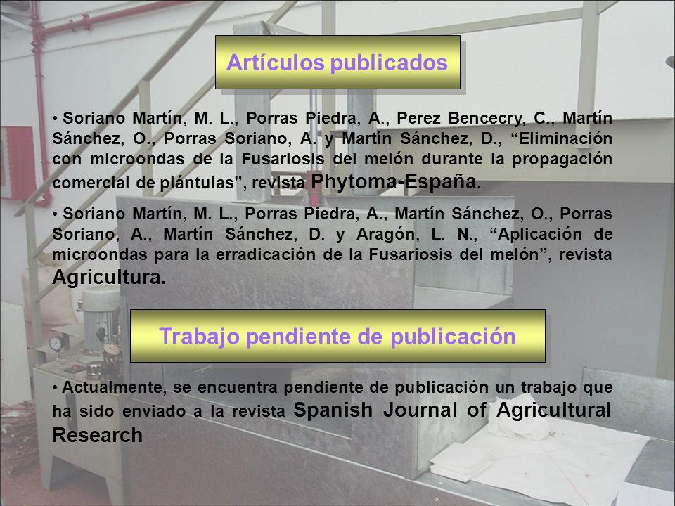 Artículos publicados Soriano Martín, M. L., Porras Piedra, A., Perez Bencecry, C., Martín Sánchez, O., Porras Soriano, A. y Martín Sánchez, D., Elimin