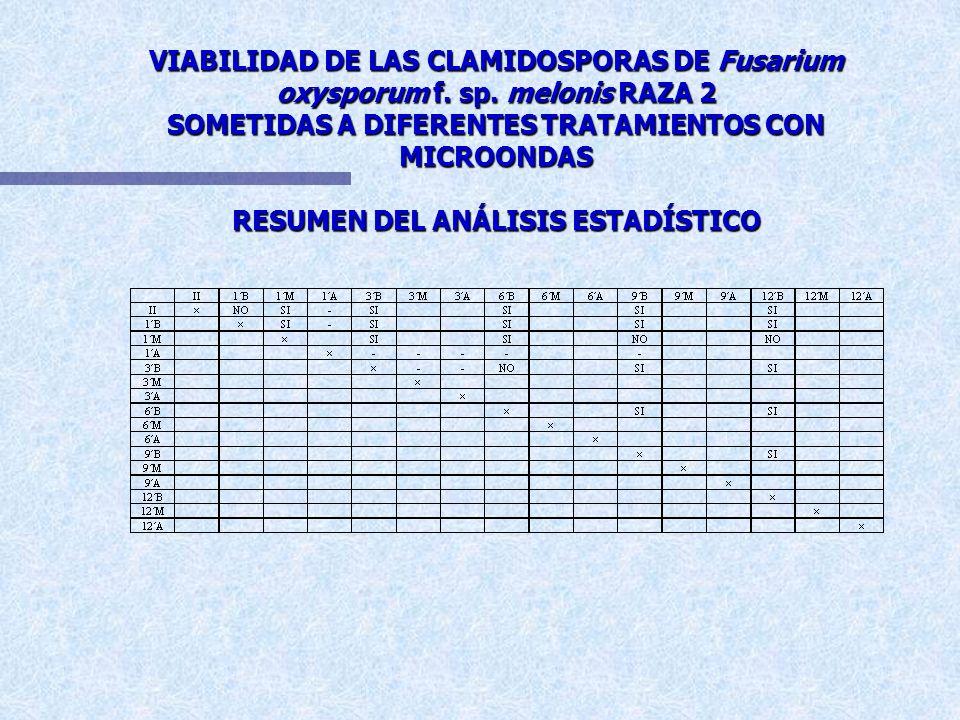 EFICACIA DE LOS DISTINTOS TRATAMIENTOS CON MICROONDAS SOBRE LA VIABILIDAD DE CLAMIDOSPORAS DE Fusarium oxysporum f. sp. melonis RAZA 2