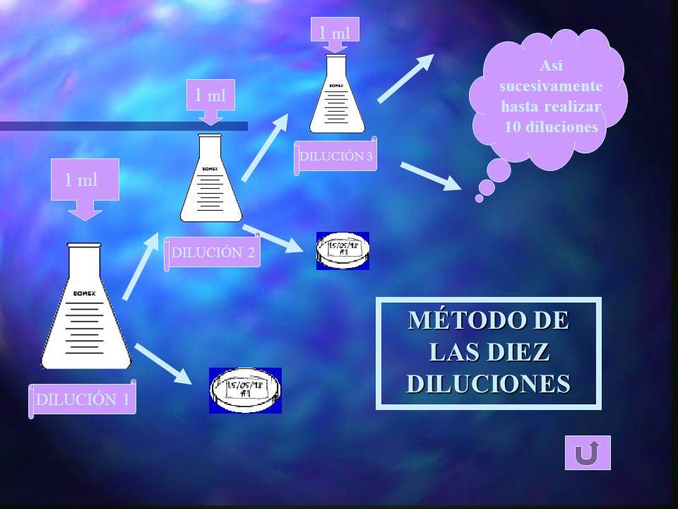 MÉTODO : Viabilidad del inóculo n Método de las diez diluciones n Las placas inoculadas se mantienen en estufa a 27ºC n Conteo diario del nº de u.f.c.