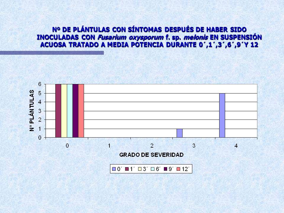 Nº DE PLÁNTULAS CON SÍNTOMAS DESPUÉS DE HABER SIDO INOCULADAS CON Fusarium oxysporum f. sp. melonis EN SUSPENSIÓN ACUOSA TRATADO A BAJA POTENCIA DURAN
