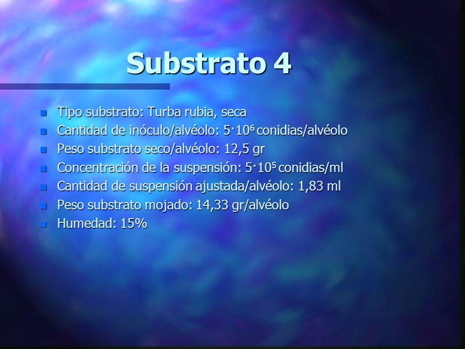 Substrato 3 n Tipo substrato: Turba rubia, mojado n Cantidad de inóculo/alvéolo: 5·10 6 conidias/alvéolo n Peso substrato seco/alvéolo: 12,5gr n Conce