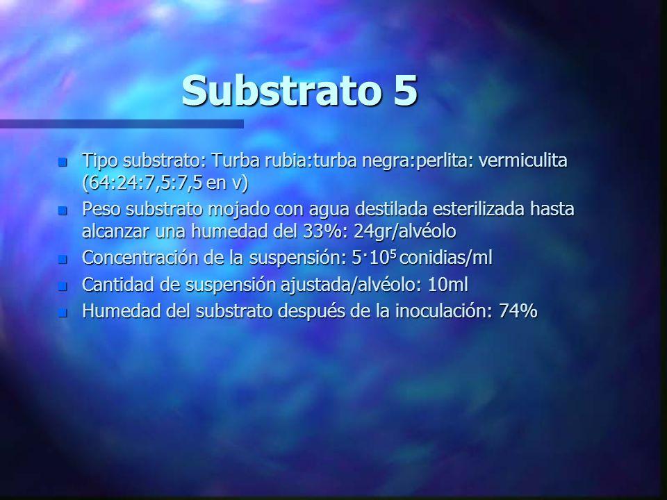 Substrato 4 n Tipo substrato: Turba rubia, seca n Cantidad de inóculo/alvéolo: 5·10 6 conidias/alvéolo n Peso substrato seco/alvéolo: 12,5 gr n Concen