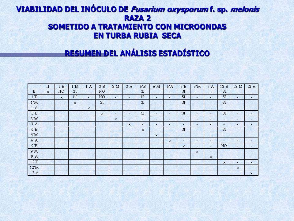 EFICACIA DE LOS DISTINTOS TRATAMIENTOS CON MICROONDAS SOBRE LA VIABILIDAD DEL INÓCULO DE Fusarium oxysporum f. sp. melonis RAZA 2 EN TURBA RUBIA SECA