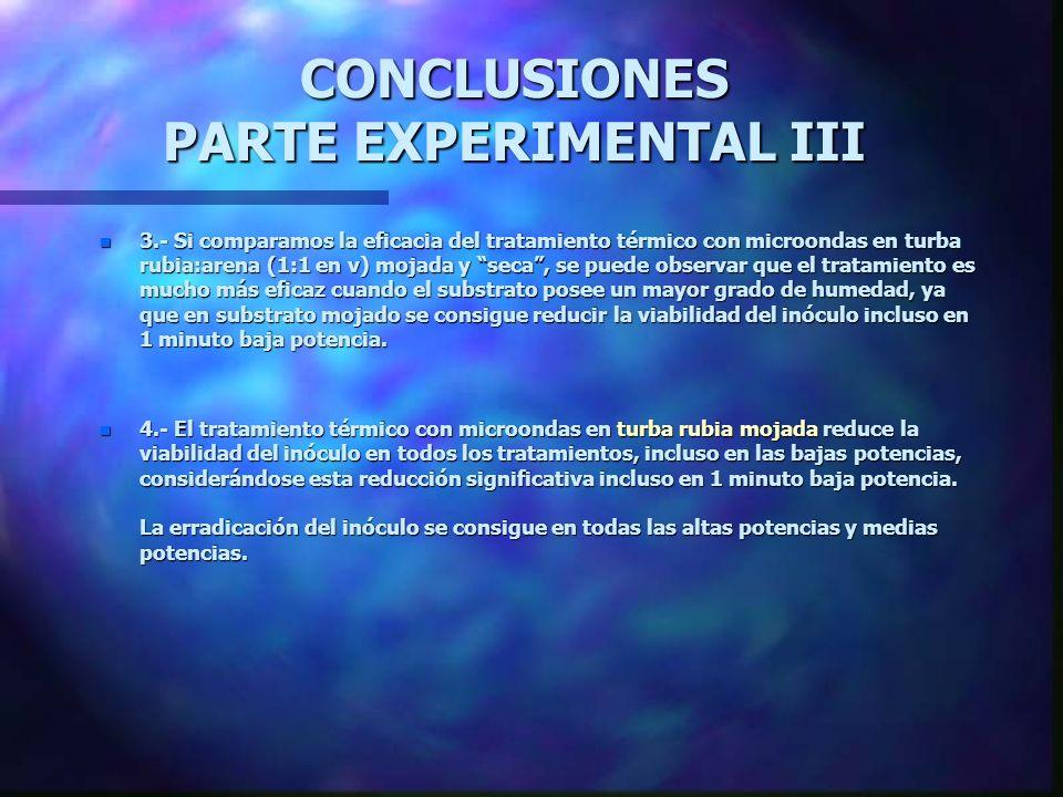 CONCLUSIONES PARTE EXPERIMENTAL III n 1.- El tratamiento térmico con microondas en turba rubia:arena (1:1 en v) mojada reduce la viabilidad del inócul