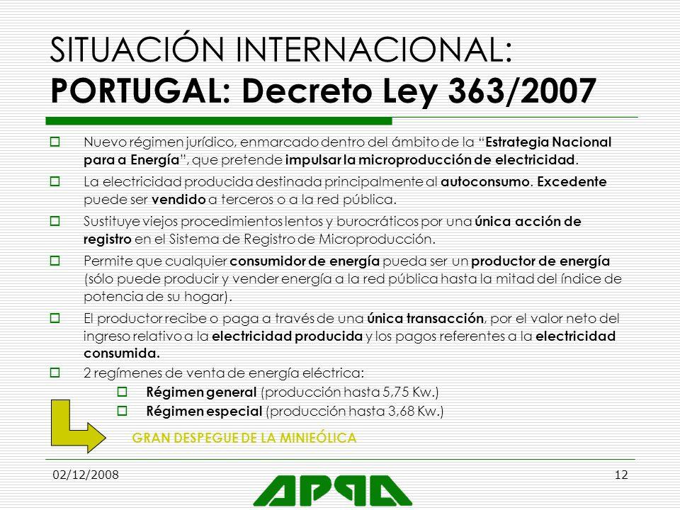 02/12/200812 SITUACIÓN INTERNACIONAL: PORTUGAL: Decreto Ley 363/2007 Nuevo régimen jurídico, enmarcado dentro del ámbito de la Estrategia Nacional par