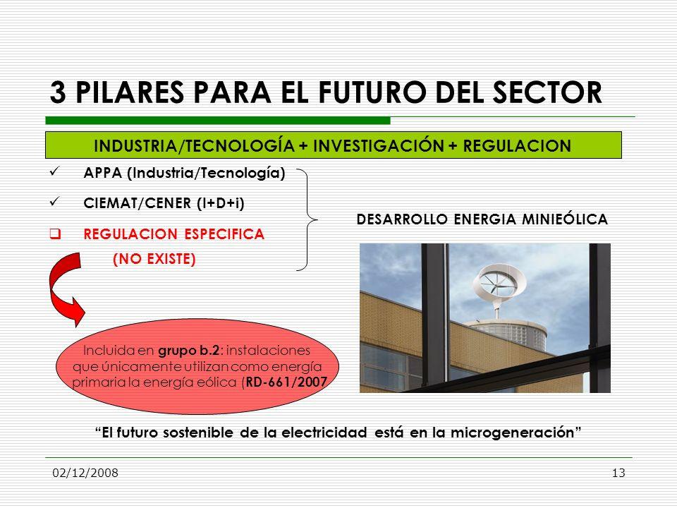 02/12/200813 3 PILARES PARA EL FUTURO DEL SECTOR APPA (Industria/Tecnología) CIEMAT/CENER (I+D+i) REGULACION ESPECIFICA (NO EXISTE) El futuro sostenib