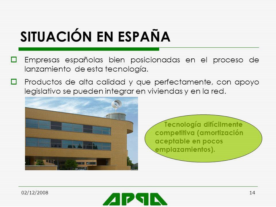 02/12/200814 SITUACIÓN EN ESPAÑA Empresas españolas bien posicionadas en el proceso de lanzamiento de esta tecnología. Productos de alta calidad y que