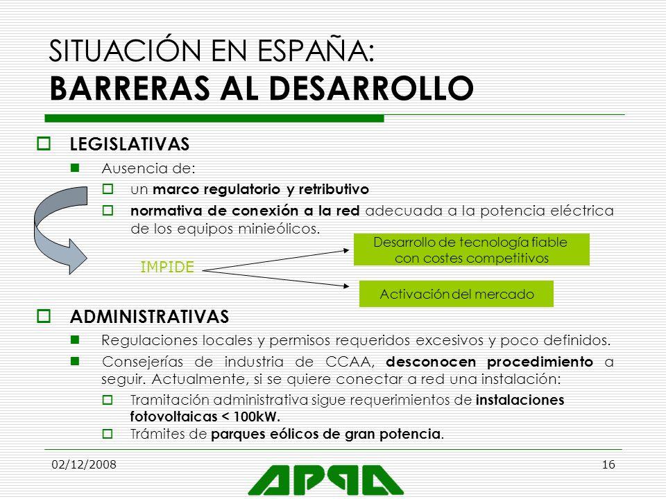 02/12/200816 SITUACIÓN EN ESPAÑA: BARRERAS AL DESARROLLO LEGISLATIVAS Ausencia de: un marco regulatorio y retributivo normativa de conexión a la red a