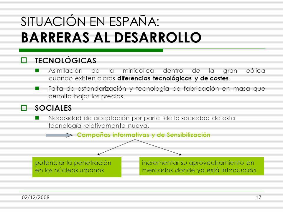 02/12/200817 SITUACIÓN EN ESPAÑA: BARRERAS AL DESARROLLO TECNOLÓGICAS Asimilación de la minieólica dentro de la gran eólica cuando existen claras dife