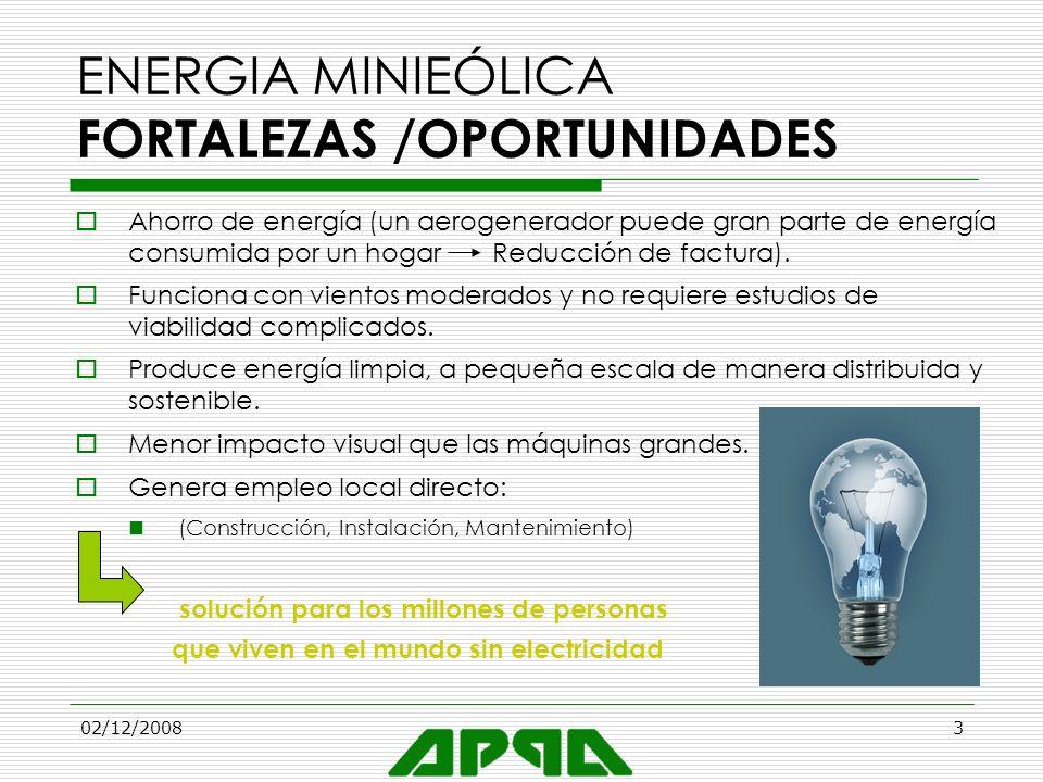02/12/20083 ENERGIA MINIEÓLICA FORTALEZAS /OPORTUNIDADES Ahorro de energía (un aerogenerador puede gran parte de energía consumida por un hogar Reducc