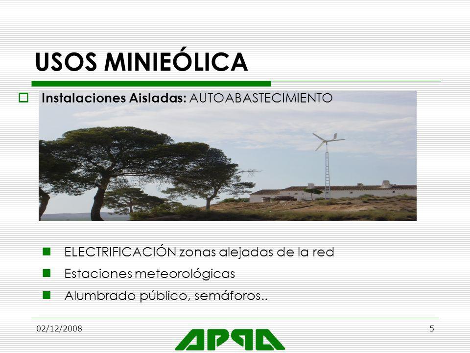 02/12/20085 USOS MINIEÓLICA Instalaciones Aisladas: AUTOABASTECIMIENTO ELECTRIFICACIÓN zonas alejadas de la red Estaciones meteorológicas Alumbrado pú