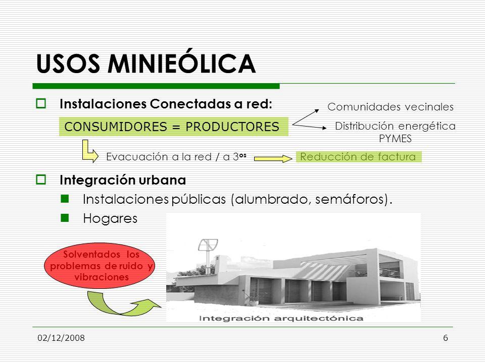 02/12/20086 USOS MINIEÓLICA Instalaciones Conectadas a red: Integración urbana Instalaciones públicas (alumbrado, semáforos). Hogares CONSUMIDORES = P