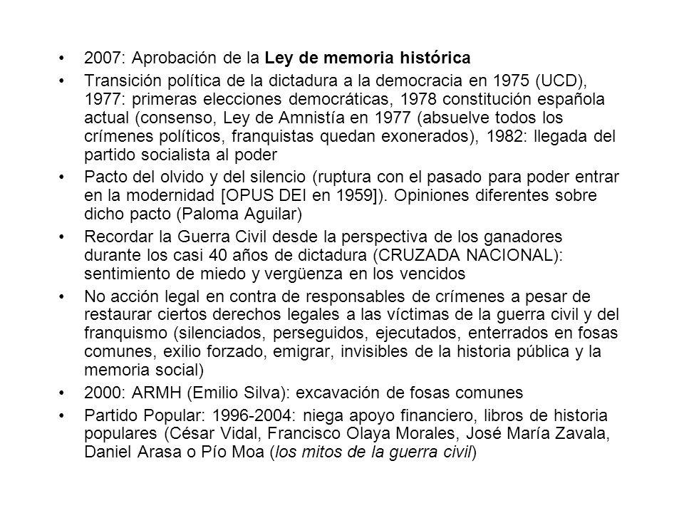 Cine de Almodóvar, documentales, cine de horror (No cine histórico: Las largas vacaciones del 36 de Jaime Camino (1976), Las bicicletas son para el verano de Jaime Chavarri (1984), La vaquilla de Luis García Berlanga (1985), Ay Carmela de Carlos Saura (1990), Libertarias de Vicente Aranda (1995), Silencio roto de Montxo Armendáriz (2000) : atención al vestuario y al decorado, visión nostálgica, neutralizada, y romantizada de la República (erotismo o comunidad rural).