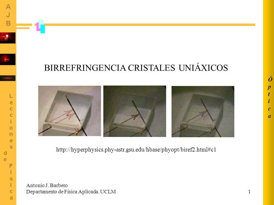 1 BIRREFRINGENCIA CRISTALES UNIÁXICOS Antonio J. Barbero Departamento de Física Aplicada. UCLM ÓpticaÓptica http://hyperphysics.phy-astr.gsu.edu/hbase
