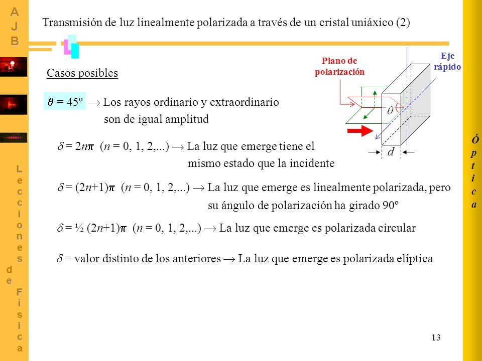 13 Casos posibles = 45º Los rayos ordinario y extraordinario d Plano de polarización son de igual amplitud = 2n (n = 0, 1, 2,...) La luz que emerge ti