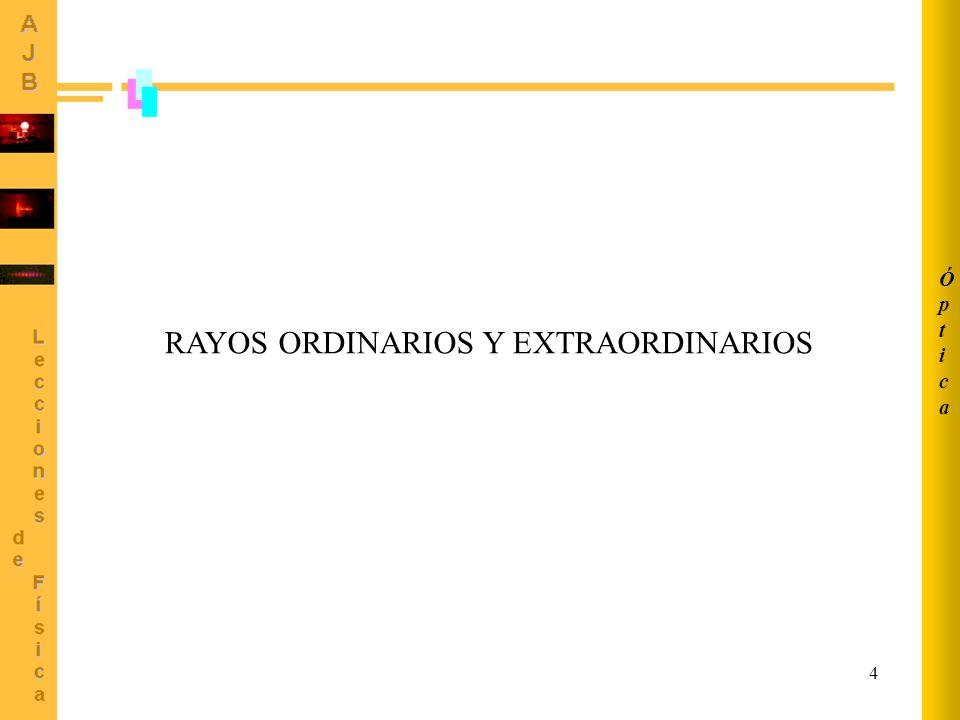 5 El vector desplazamiento asociado con el rayo ORDINARIO está polarizado perpendicularmente a la sección principal.
