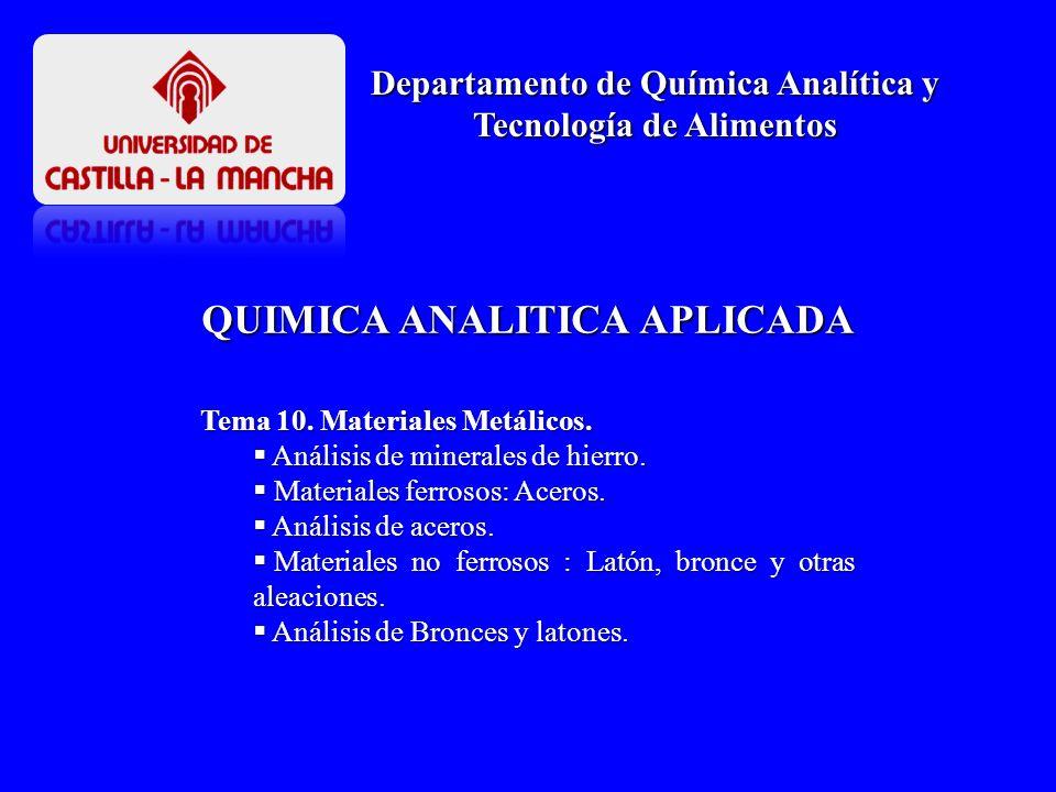 QUIMICA ANALITICA APLICADA Departamento de Química Analítica y Tecnología de Alimentos Tema 10. Materiales Metálicos. Análisis de minerales de hierro.