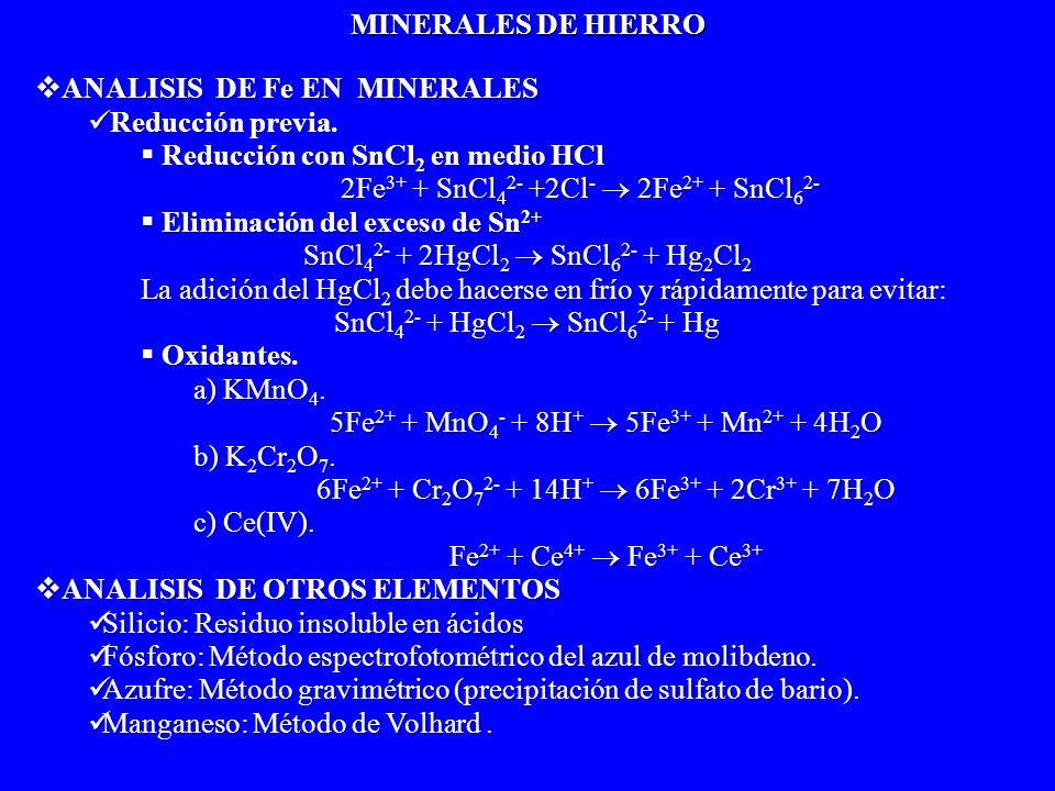 ANALISIS DE Fe EN MINERALES ANALISIS DE Fe EN MINERALES Reducción previa. Reducción previa. Reducción con SnCl 2 en medio HCl Reducción con SnCl 2 en