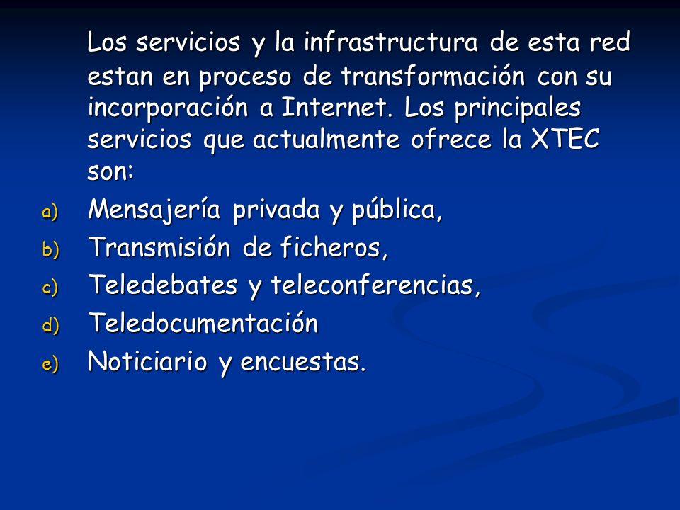 Los servicios y la infrastructura de esta red estan en proceso de transformación con su incorporación a Internet. Los principales servicios que actual