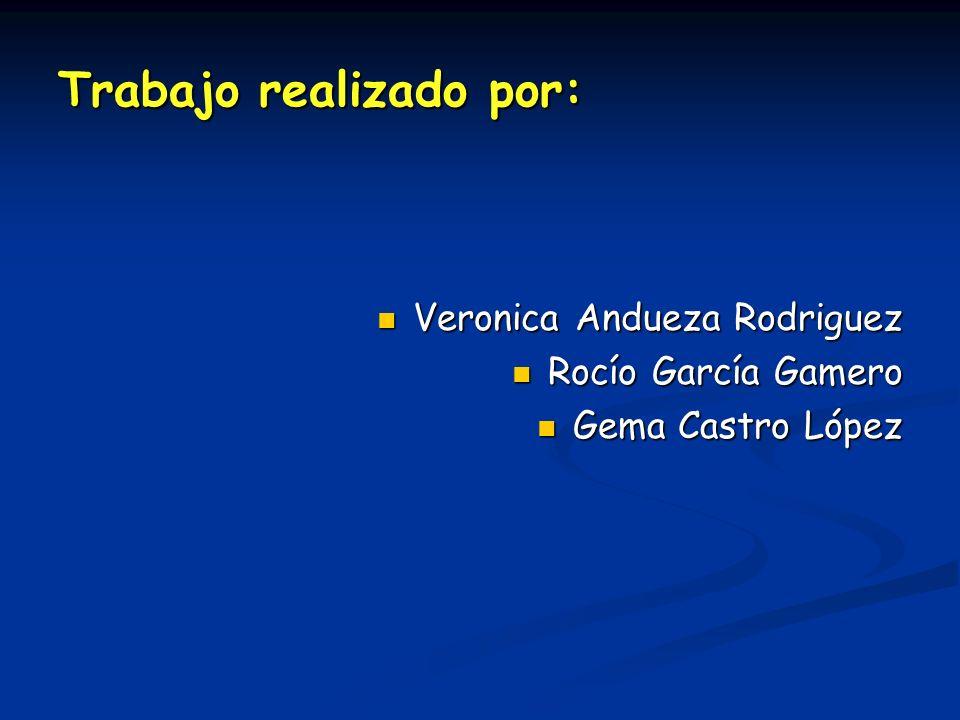 Trabajo realizado por: Veronica Andueza Rodriguez Veronica Andueza Rodriguez Rocío García Gamero Rocío García Gamero Gema Castro López Gema Castro Lóp