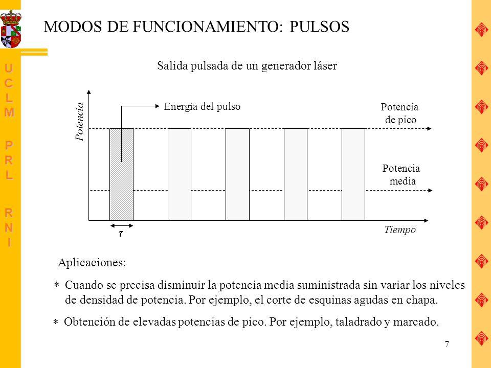 8 DESCRIPCIÓN DE EQUIPOS LÁSER Características del equipo: Medio activo Modo de funcionamiento (duración del pulso) Potencia (energía del pulso) Láser He-Ne, 632.8 nm, continuo, 1 mW Láser Nd-YAG, 1064 nm (IR), pulsos 10 ns, 150 mJ Longitud de onda Granate de ytrio/aluminio dopado con neodimio Ejemplos: http://www.iap-kborn.de/optik/iap_rmr_lidar/rmr_pict_e.htm