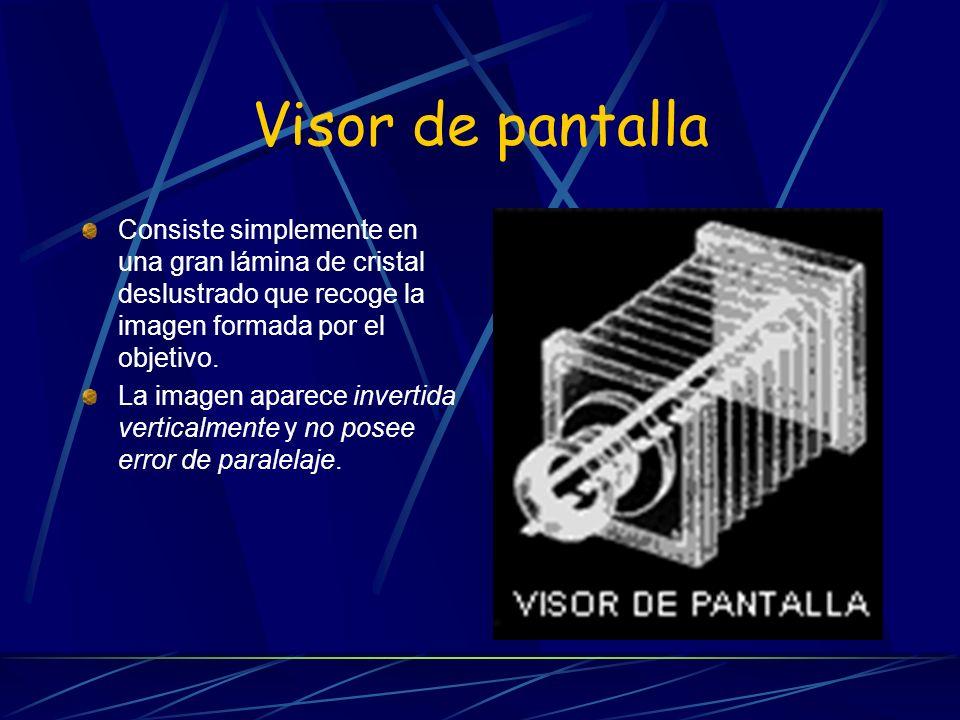 Visor de pantalla Consiste simplemente en una gran lámina de cristal deslustrado que recoge la imagen formada por el objetivo. La imagen aparece inver