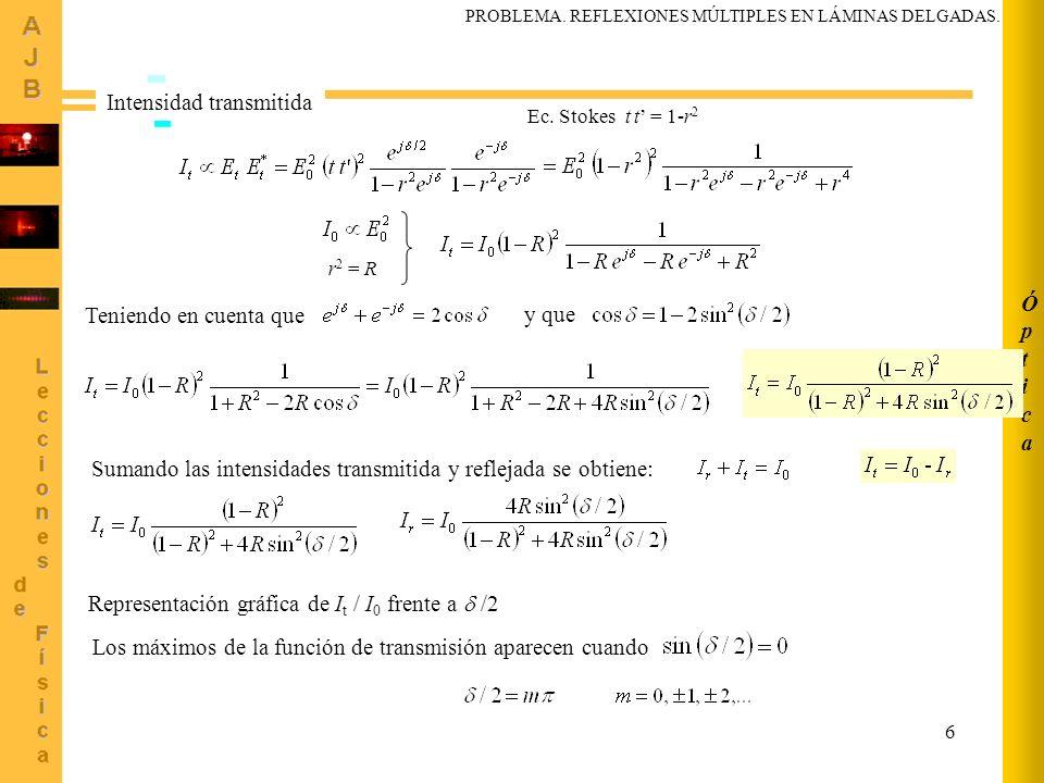 6 ÓpticaÓptica Intensidad transmitida Ec. Stokes t t = 1-r 2 Teniendo en cuenta que r 2 = R y que Sumando las intensidades transmitida y reflejada se