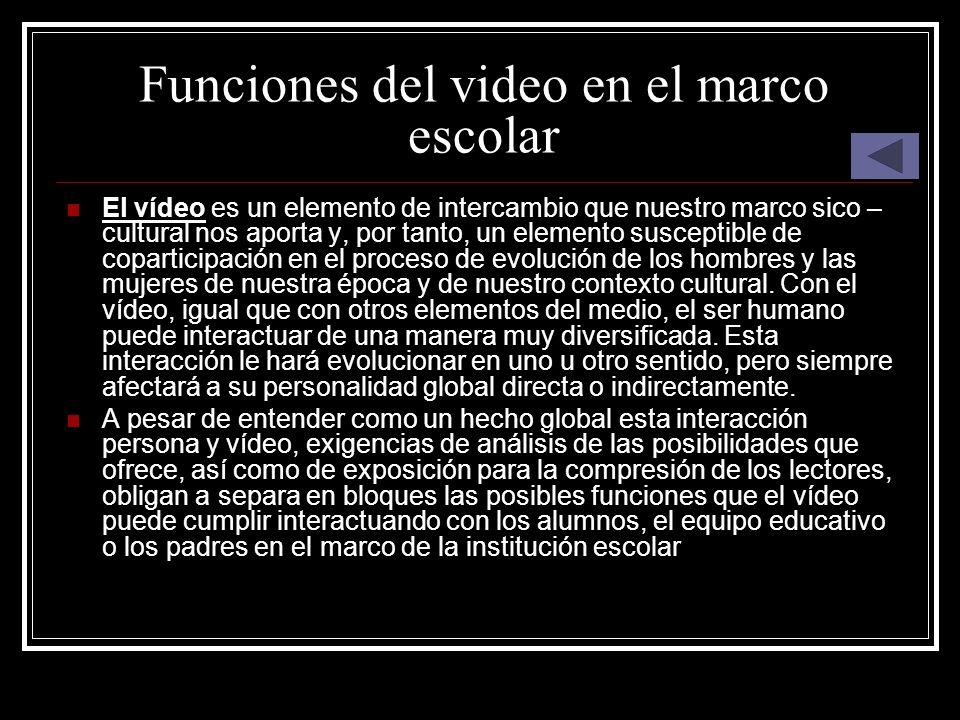 Funciones del video en el marco escolar El vídeo es un elemento de intercambio que nuestro marco sico – cultural nos aporta y, por tanto, un elemento