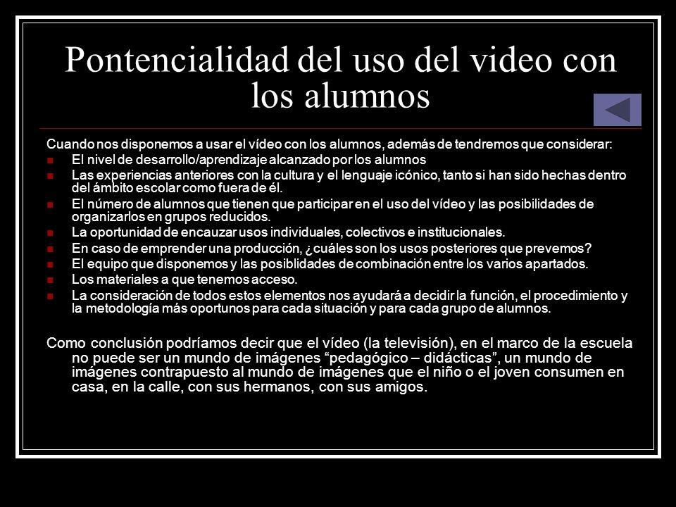 Pontencialidad del uso del video con los alumnos Cuando nos disponemos a usar el vídeo con los alumnos, además de tendremos que considerar: El nivel d