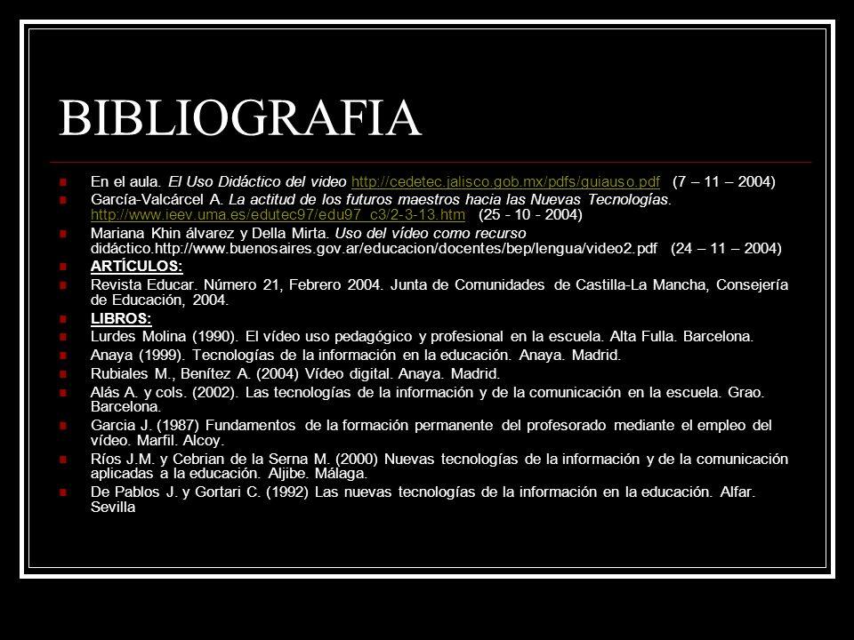 BIBLIOGRAFIA En el aula. El Uso Didáctico del video http://cedetec.jalisco.gob.mx/pdfs/guiauso.pdf (7 – 11 – 2004)http://cedetec.jalisco.gob.mx/pdfs/g