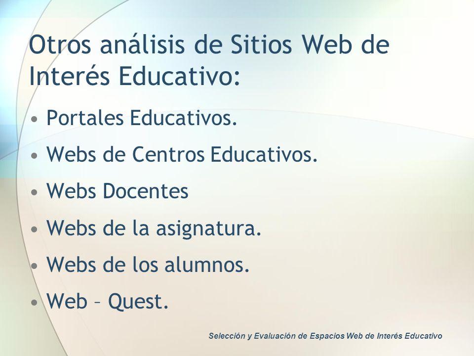 Otros análisis de Sitios Web de Interés Educativo: Portales Educativos. Webs de Centros Educativos. Webs Docentes Webs de la asignatura. Webs de los a