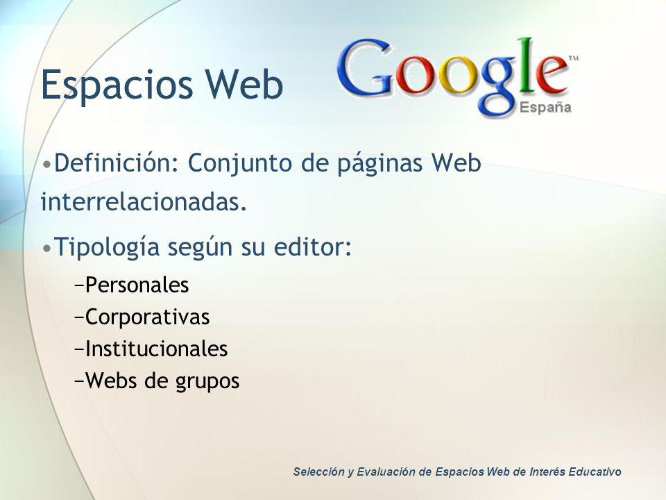 Espacios Web Definición: Conjunto de páginas Web interrelacionadas. Tipología según su editor: Personales Corporativas Institucionales Webs de grupos