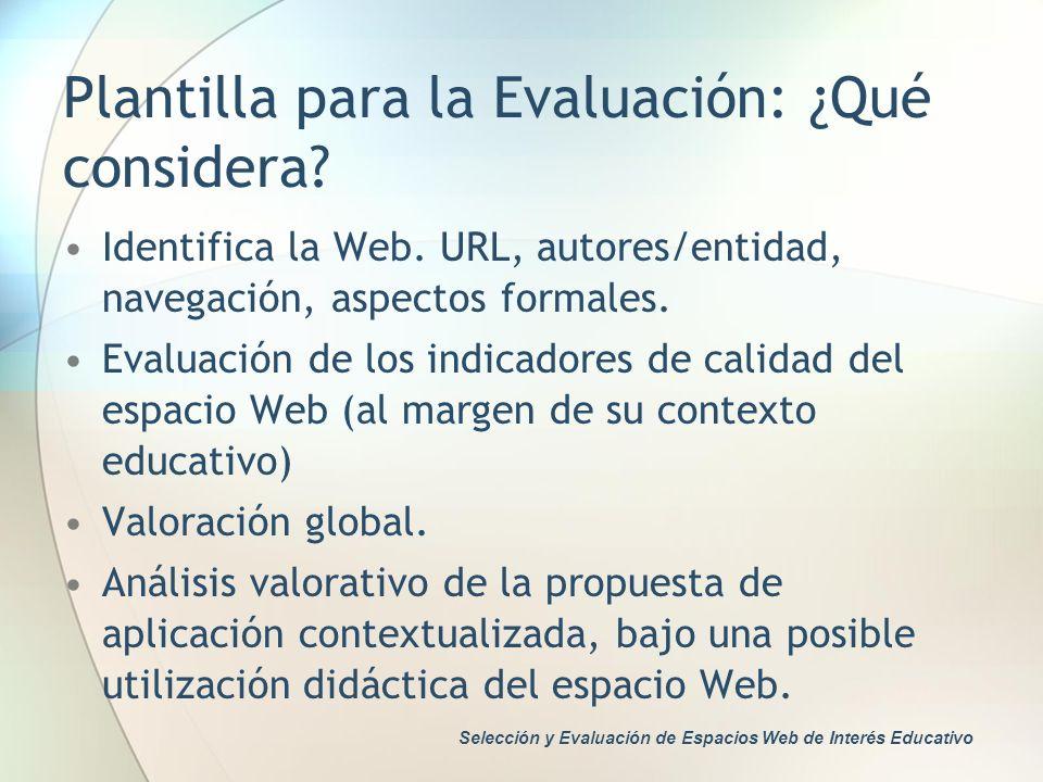 Plantilla para la Evaluación: ¿Qué considera? Identifica la Web. URL, autores/entidad, navegación, aspectos formales. Evaluación de los indicadores de