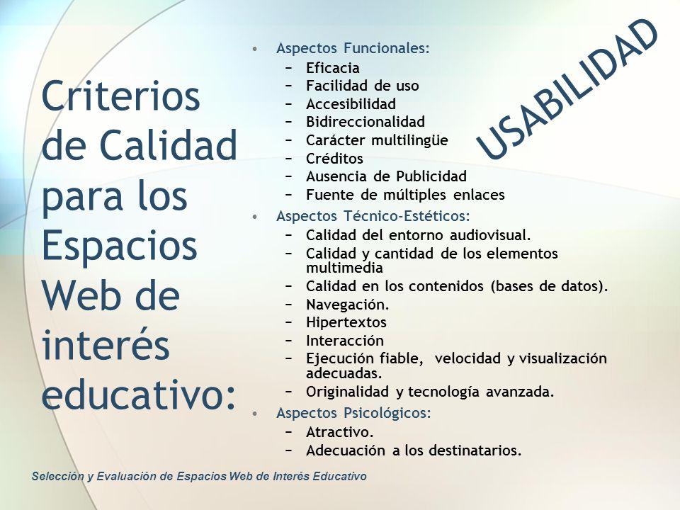 Criterios de Calidad para los Espacios Web de interés educativo: Aspectos Funcionales: Eficacia Facilidad de uso Accesibilidad Bidireccionalidad Carác