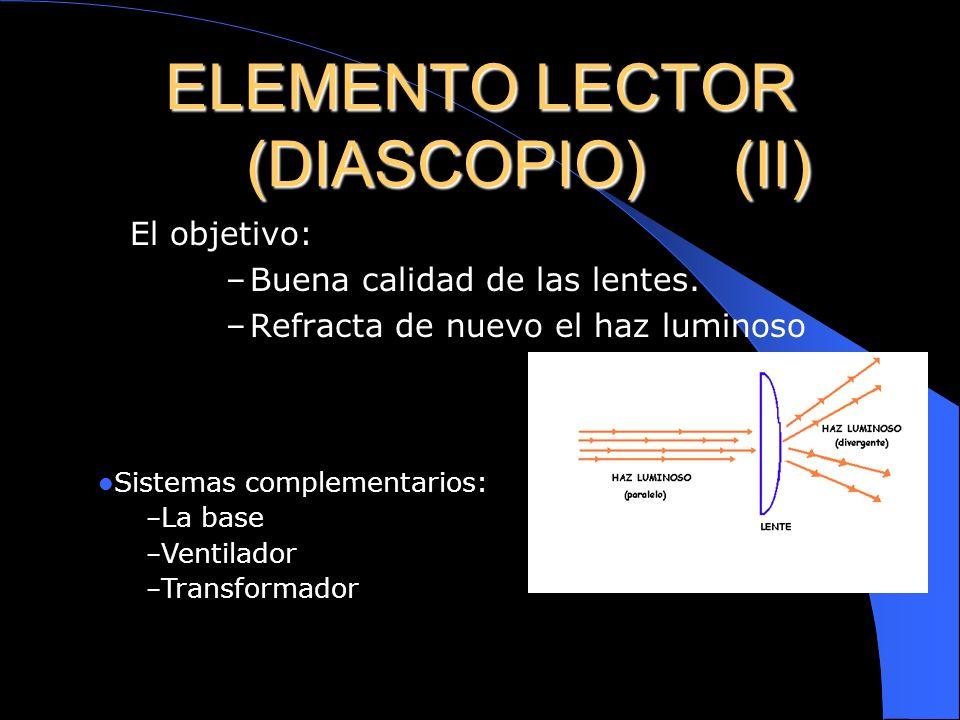 ELEMENTO LECTOR (DIASCOPIO) (I) Estructura: – Fuente luminosa (lampara y espejo reflector) – Sistema condensador(dos lentes convexas y enter ellas un