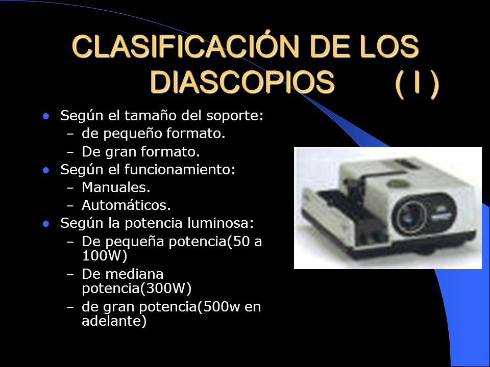 ELEMENTO LECTOR (DIASCOPIO) (II) El objetivo: –Buena calidad de las lentes. –Refracta de nuevo el haz luminoso Sistemas complementarios: – La base – V