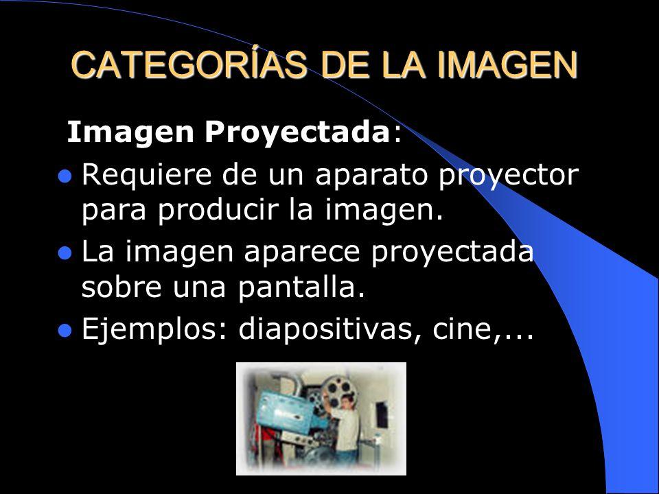 Imagen Directa: Percibida directamente por el sentido de la vista. Ejemplos: fotografías, cuadros, carteles,... CATEGORÍAS DE LA IMAGEN